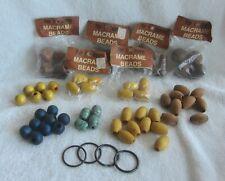 Nos Vintage Macrame Wood Beads Large Lot of 69 Craft Plant Hanger