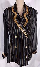 Cristina Fashion Blazer Vtg 90s Sz L Sequins Sheer Sleeves Gangster Halloween