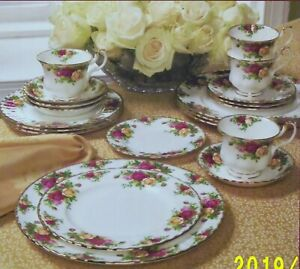 Gorgeous! Royal Albert Classic Old Country Roses 20-pc Gold Rim Bone China ~ NIB