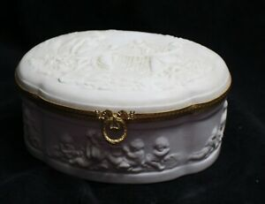 LARGE LIMOGES OVAL BOX WITH FIGURES AND ANGELS