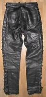 Damen- Schnür- LEDERJEANS / Biker- Lederhose in schwarz ca. 38/40 - viele Ösen!