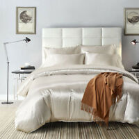 Bed Duvet Cover Sets Silk Soft Bedding Flat Sheet Twin Queen King Solid Color