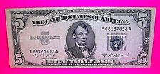 $5 Five Dollar SILVER CERTIFICATE Series 1953 A BLUE Seal Bill Money Great Note