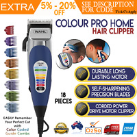 Wahl Colour Pro Electric Hair Clippers 18 Pcs Home Haircut Kit Groomer Clipper