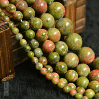 Natural Unakite Gemstone Faceted Round Loose Beads Spacer Beads 15'' 6/8/10mm