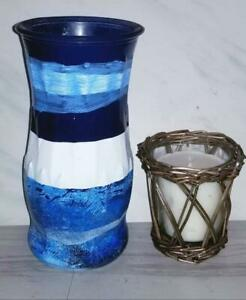 Black Blue White Glass Vase/Hand Painted Blue Vase