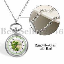 Women Unisex Lucky Four-leaf Clover Dial Open Face Quartz Pocket Watch Necklace
