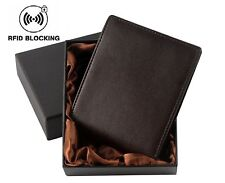 Nergivep Rfid Blocking Mens Brown Leather Purse Bifold Security Wallets
