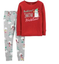 Carter's  Girls Two Piece Christmas Pajama Set Snowman Winter Holiday 12 Months
