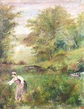 Huile sur toile début XIXe paysanne à la cueillette signée illisible