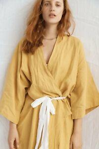 Deiji Studios Mustard Kimono style Robe Linen NEW
