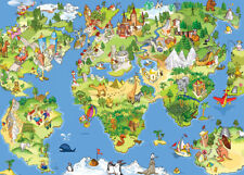 1000 Pcs Puzzle Cartoon World Map Animals Landmarks Jigsaw Kids Educational Toys