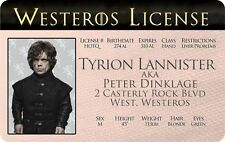 Tyrion Lannister GAME OF THRONES Peter Dinklage I.D. card Drivers License