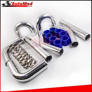 3 inch Intercooler Pipe Kit Universal Aluminum Piping 180 90 45 Degree Blue hose