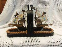 Vintage Wood Bookends Book Ends Pirate Ship Nautical Décor Sails