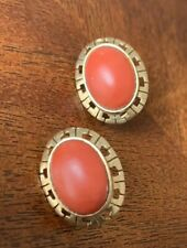 14K Gold  and Natural Coral   Earrings