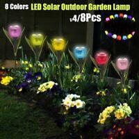 1/4/8PCS Solar Tulip Flower Light 8 Colors LED Outdoor Garden Lawn Decor Lamp
