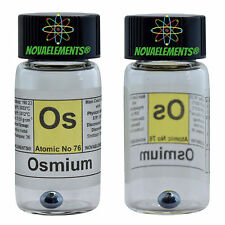 Osmium metal element 76 Os sample 0.5 gram 99,99% pellet in labeled glass vial