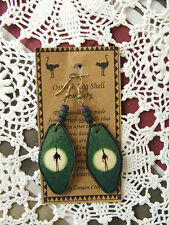 ZWAAN CRAFTS AFRICAN GREEN WHITE OSTRICH EGG SHELL EARRINGS BNWT