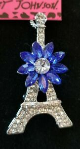 Women's Blue Crystal Eiffel Tower Pendant Betsey Johnson Long Necklace