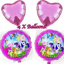 """2 x18"""" Lámina De Mi Pequeño Pony Rainbow Dash, Globo, Pinkie Pie y 2 18"""" Corazón Globo"""