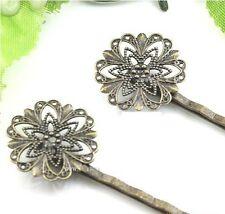 20PCS Antiqued Bronze Filigree Flower Bobby Pins Hair Clips 55mm #22731