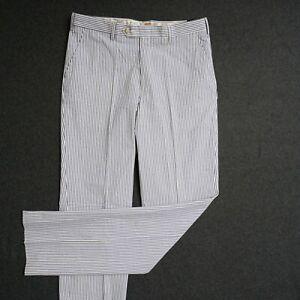 Berle Mens Pants Slacks Blue White Striped Combed Cotton Seersucker Size 34