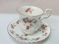 Tea Cup Saucer Roses England Royal Crest Bone China Teacup Flowers Signed Old