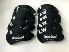 10PCS Golf Club Covers for Cleveland Iron Headcovers Caps Velco 4-LW Black&Black