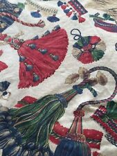 4x Pieces Vintage Remnants Stunning Tassel Print Cotton Project From Curtains