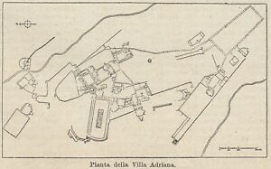 G7017 Rome - Plant Of Villa Adriana - Map Period - 1925 Vintage Map