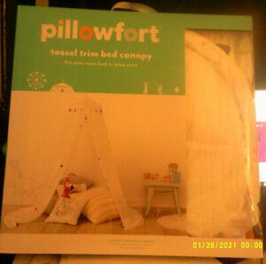 "Pillowfort Tassel Trim Bed Canopy White 180"" x 100"" New Ceiling Mount"