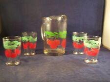 VINTAGE JUICE PITCHER PLUS GLASSES/TUMBLERS WITH CHERRIES - SET OF 5