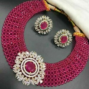 Gold Plated Bollywood Indian Ruby Choker Necklace Bridal Fashion CZ Jewelry Sets