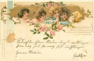 Girls Paint Paillette Floral greeting 1897 Postcard Wiesbaden Germany 21-2333
