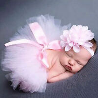 geborenes Baby Mädchen Kleid + Stirnband Tütü Kostüm-Fotoshooting G9Y6 E4T6