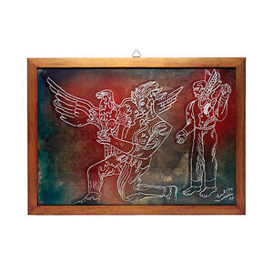 Seguso - Vincenzo Eulisse - Signed Unique Murano Engraved Glass Falcon Painting