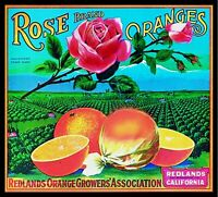 SOUTHLAND BEAUTIES~ROSES~ORIGINAL 1940s CORONA-RIVERSIDE LEMON FRUIT CRATE LABEL