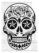 42x60cm Azúcar Caramelo Calavera Pegatina Gráfico De Tatuaje Estrella náutica rayas laterales de vinilo