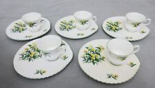 VTG/ANTIQUE CROWN STAFFORDSHIRE,CORNWALL 5 SNACK SETS,CUP & PLATE,YELLOW MUMS