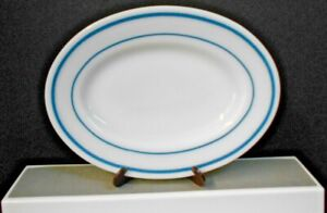 """ANCHOR HOCKING ANCHORWARE MILK WHITE OVAL PLATER 9 1/2"""" TEAL STRIPE PRE-OWNED"""