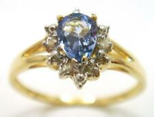 SYJEWELLERY 9CT YELLOW GOLD PEAR NATURAL IOLITE & DIAMOND RING SIZE N R1003