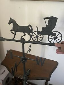 Vintage Cast Iron Horse & Buggy Weather Vane