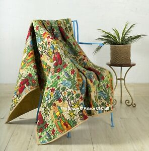 Indian Handmade Beige Machine Quilted Cotton Frida Kahlo Blanket Throw
