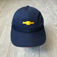 VTG Chevrolet Navy Blue Gold Logo Baseball Cap Trucker Hat Made in USA
