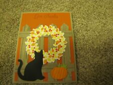 Give Thanks Thanksgiving Wreath Autumn Cat Handmade Card Kit 4 w/some stampin up