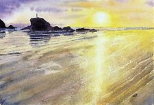 Perranporth Sunset  Cornwall art print from Watercolour painting by Alex Pointer