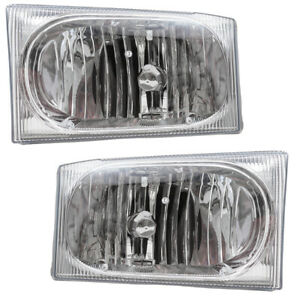 Pair Set Headlights Clear Center Lens for Ford Super Duty Pickup Excursion