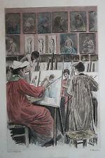 Eau-forte aquarelle pochoir La Femme à Paris Pierre Vidal Fred. Massé Uzanne 11