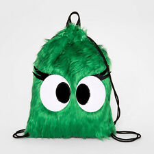 Cat & Jack™ Target Kids Furry Faux Fur Cinch Drawstring Backpack with Eyes Green